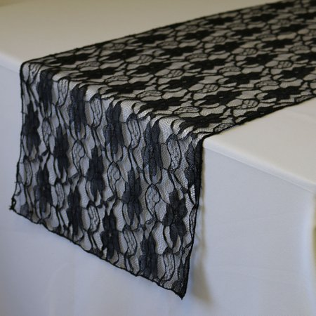 Your Chair Covers - 14 x 108 inch Lace Table Runner Black for Wedding, Party, Birthday, Patio, etc. ()