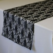 Your Chair Covers - 14 x 108 Inch Lace Table Runner Black