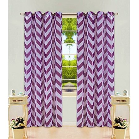 1 Panel Chevron Purple Two-Tone Pattern Design Voile Sheer Window Curtain 8 Silver Grommets 55