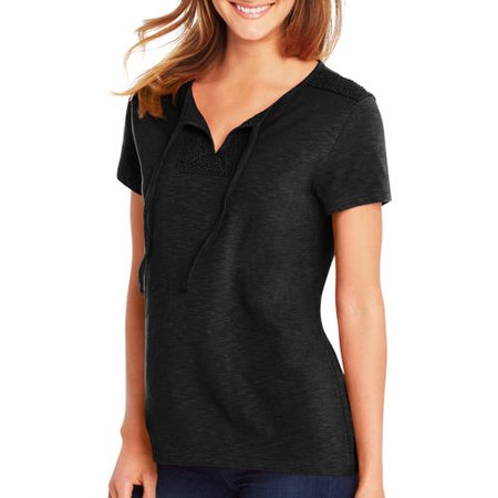 Hanes Women's Short-Sleeve Henley Tee with Crochet Trim Hanes Women's Short-Sleeve Henley Tee with Crochet Trim:100% cotton. Lightweight slub cotton jersey tee feels soft against the skin. Retro styled henley features crochet trim in front center panel and on shoulders. High/low hem for a flatering fit. All the comfort of Hanes with our famous tag-free neckline. Machine wash cold with like colors; remove promptly. Use only non-chlorine bleach when needed. Tumble dry low. Cool iron if needed.