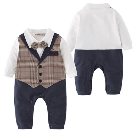 7a068a6e7ddf Baby Toddler Boy Bow-tie Vest All-in-One Formal Wear Cotton Romper ...