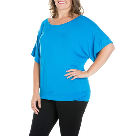Comfort Fitting (Women's Plus Size Short Sleeve Loose Fitting Dolman Top)