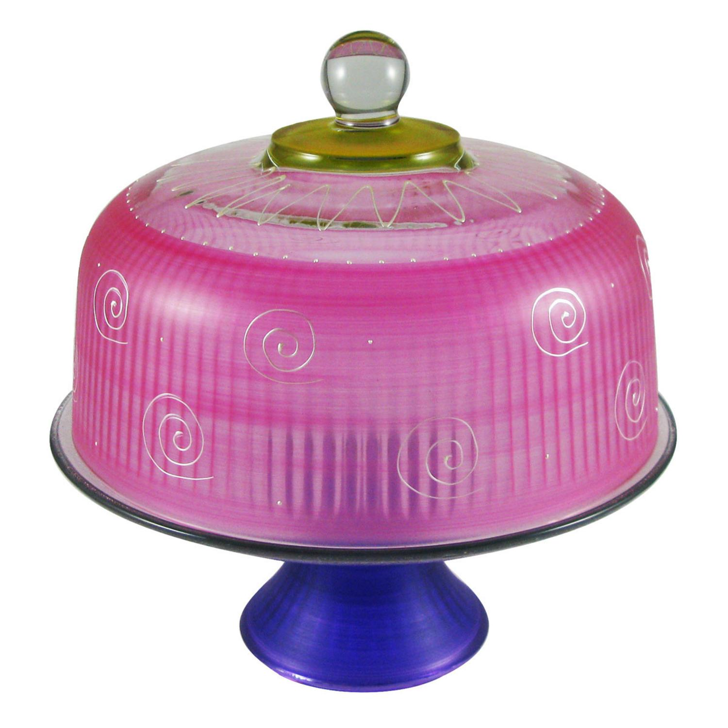 Frosted Pink and White Hand Painted Glass Convertible Cake Dome 11""