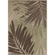 Creative Home Patio Outdoor Area Rugs - 3602-465 Outdoor Beige Palm Leaves Tropical Fronds Rug