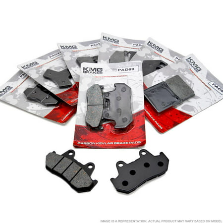 KMG Front + Rear Brake Pads for 2007-2008 Yamaha XVS 1100 V-Star Custom Midnight - Non-Metallic Organic NAO Brake Pads Set - image 3 de 4