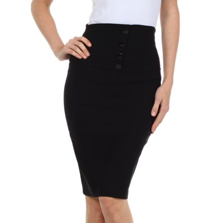 Sakkas Petite High Waist Stretch Pencil Skirt with Four Button Detail - Black - Large