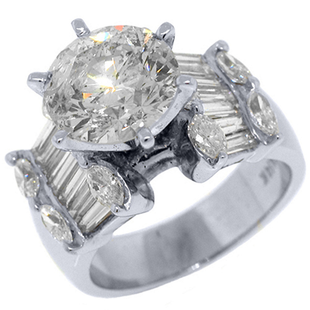 14k White Gold 5.45 Carats Round & Baguette Diamond Engagement Ring