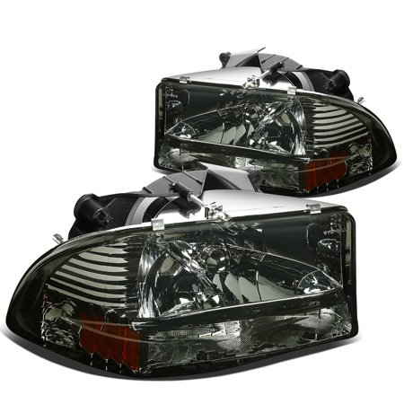 For 97 04 Dodge Dakota Durango 1pc Per Corner Headlight Embly Smoke Lens Amber Reflector 98 99 00 01 02 03