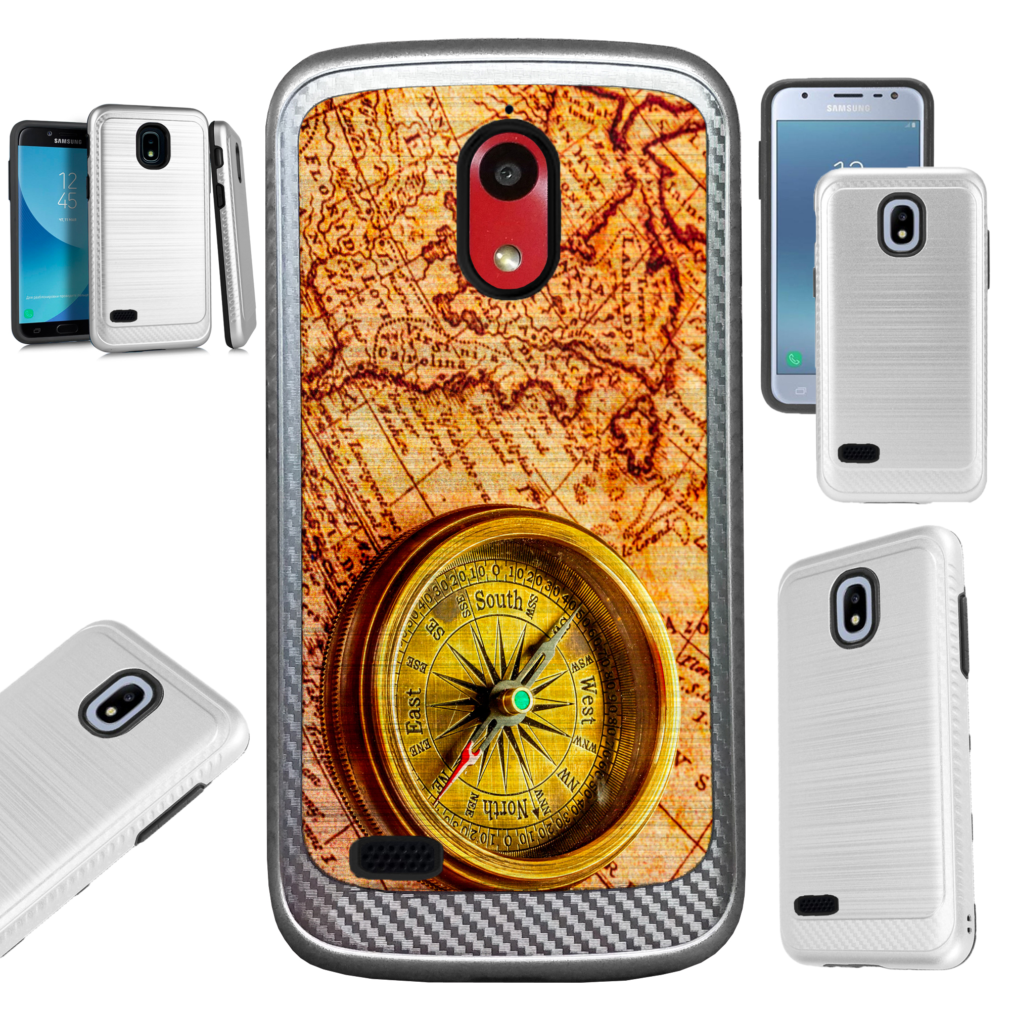 For AT&T Axia (2018) Case Brushed Metal Texture Hybrid TPU Artillery Phone Cover (Treasure Map)