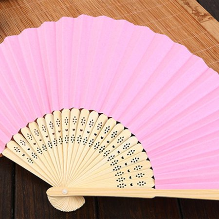 DIY Summer Bamboo Folding Hand Held Fan Chinese Dance Party Solid Color Fan - image 9 de 10
