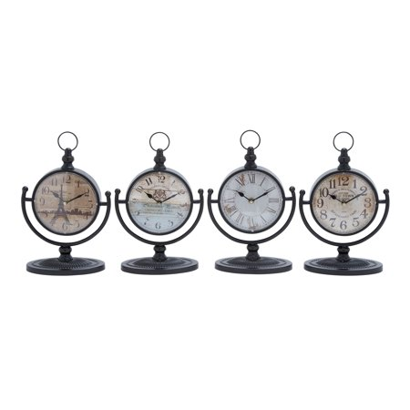 Metal Desk Clock Assorted In Natural Shades (Set Of 4)