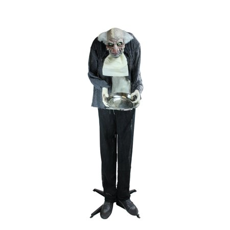 5.5' Motion Activated Lighted Standing Man Holding a Tray Animated Halloween Decoration with Sound (Motion Sensor Halloween Decorations Uk)