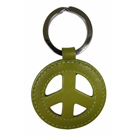 Sign Keychain Key Ring (Leather Peace Sign Key Fob Ring Keychain Fashion Color)