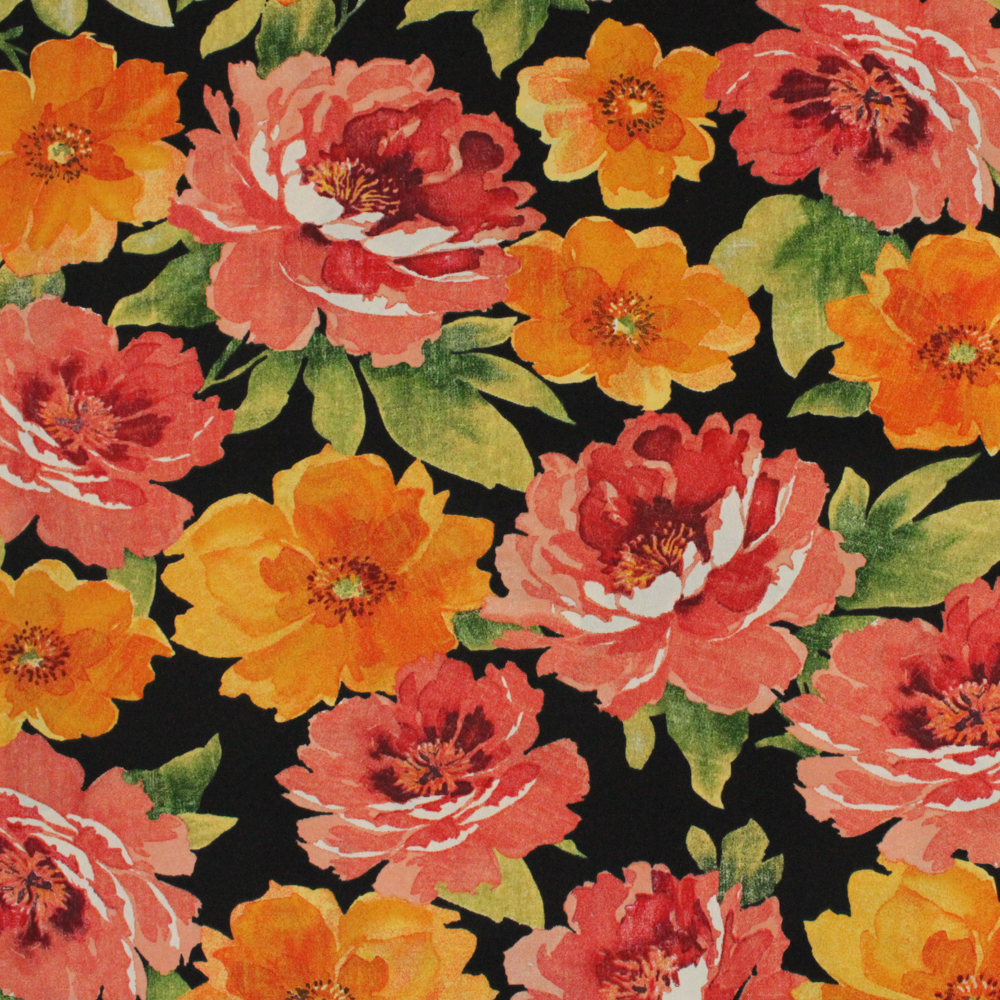 "Berkshire Home Polyester 54"" Indoor/Outdoor LG Floral Onyx Fabric, per Yard"