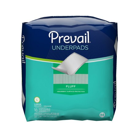 18 Inch Disposable - Prevail Disposable Underpad Fluff Moderate Absorbency 23 x 36 Inch, 4 Packs of 18