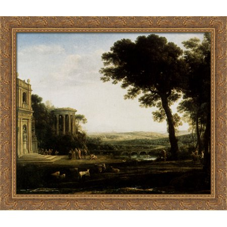 Landscape With A Sacrifice To Apollo 34X28 Large Gold Ornate Wood Framed Canvas Art By Claude Lorrain