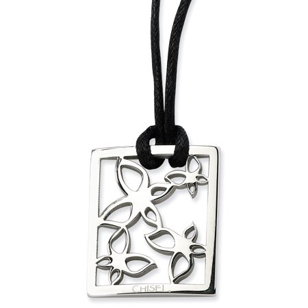 Stainless Steel Square Flowers 22 Inch Link Cord Chain Necklace Pendant Charm Floral Gifts For Women For Her ()