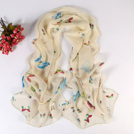 Women Long Soft Scarf Wraps Sunscreen Chiffon Butterfly Floral Shawl (Mens Floral Scarf)