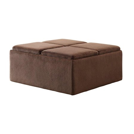 Homelegance Set Ottoman (homelegance 468cp textured plush microfiber storage ottoman with 4-flip top tray inserts and casters, dark)