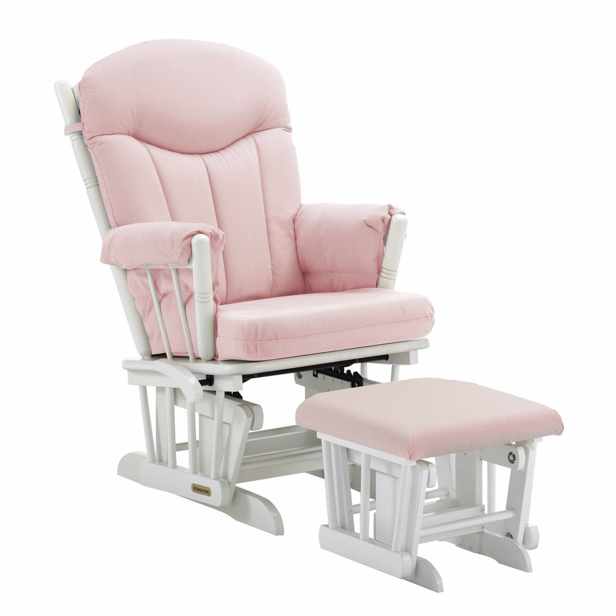 Shermag Combo Glider/Ottoman, White/Pickwick Pink