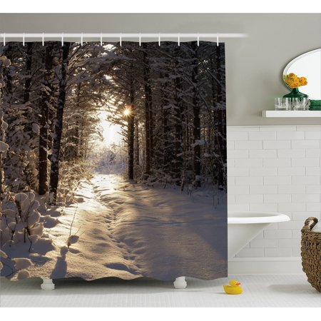 Winter Shower Curtain, Christmas Season with Snow and Frozen Forest Sun Rays Very Cold Woods Scenery, Fabric Bathroom Set with Hooks, 69W X 75L Inches Long, Brown Pale Yellow, by -