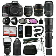 """Nikon D5200 DSLR Digital Camera + 18-55mm VR + 6.5mm Fisheye + 55-300mm VR + 420-1600mm Lens + Filters + 128GB Memory + Action Stabilizer + i-TTL Autofocus Flash + Backpack + Case + 70"""" Tripod"""