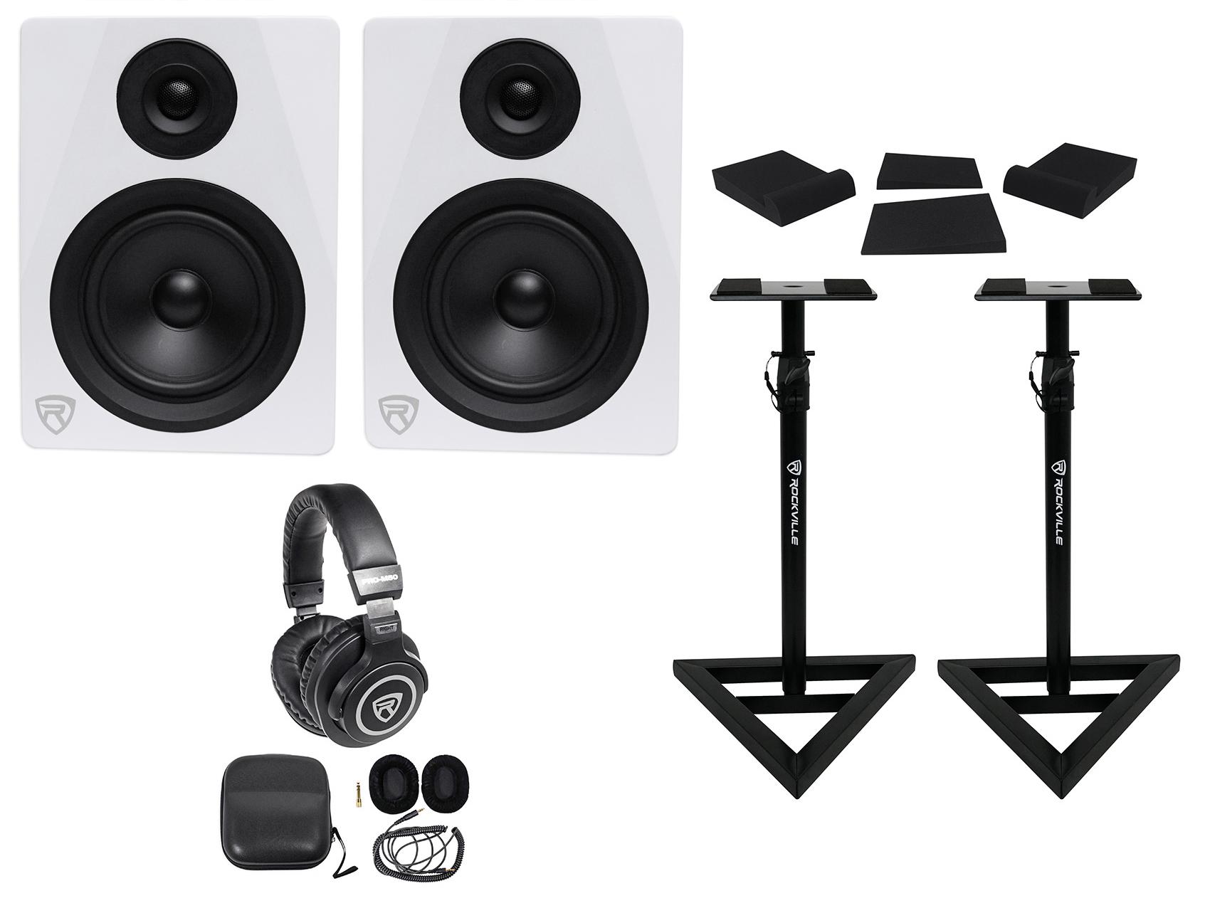 "2 Rockville DPM5W 5.25"" 300w Dual Powered Studio Monitors+Stands+Pads+Headphones by ROCKVILLE"
