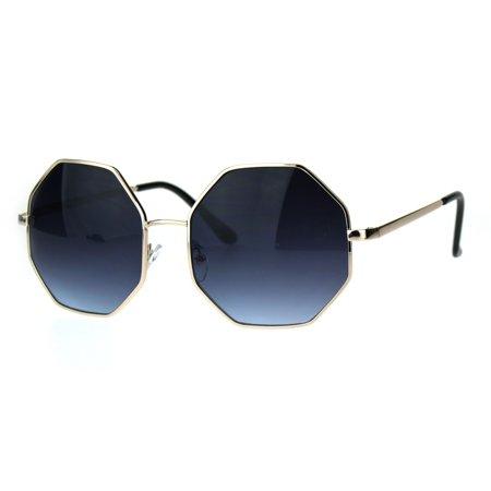 Womens Gradient Lens Octagon Metal Oversize Retro Sunglasses Gold Blue Smoke