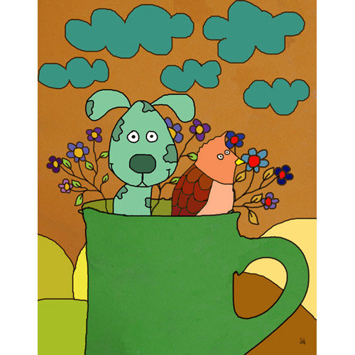 Green Leaf Art Dog in Cup I Canvas Art