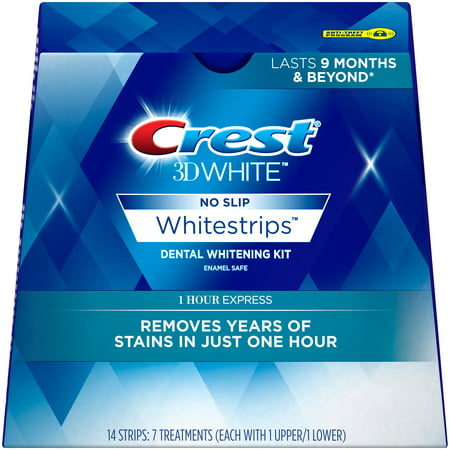 Crest 3D White Whitestrips 1 Hour Express Teeth Whitening Kit, 7 (Viatek Pw01 Hollywood Smiles Teeth Whitening System)