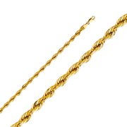 FB Jewels 14K Yellow Gold 5MM Lobster Claw Clasp Hollow Diamond-Cut Rope Chain Necklace - 18 Inches