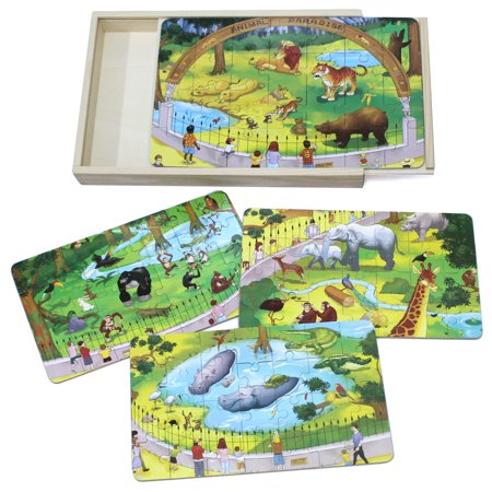 Timy 4 in 1 Wooden Jigsaw Puzzle for Kids Zoo Animals Puzzles in Storage Box - Jigsaw Puzzles For Kids