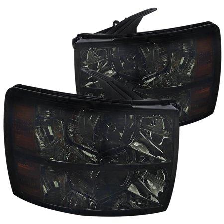 Spec-D Tuning 2007-2014 Chevy Silverado 1500 2500 3500 Headlights Smoke W/ Amber Reflector 07 08 09 10 11 12 13 14 (Left + Right)