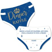 Royal Prince Charming - Diaper Shaped Raffle Ticket Inserts - Baby Shower Activities - Diaper Raffle Game - Set of 24