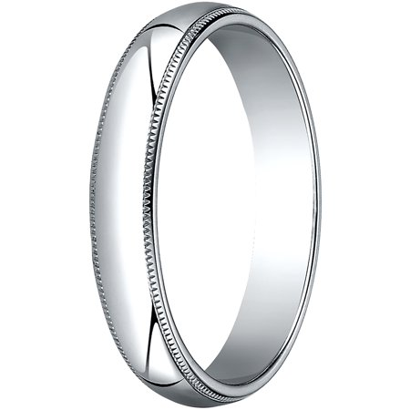 Mens 10K White Gold, 4.0mm Traditional Dome Oval Wedding Band with Milgrain