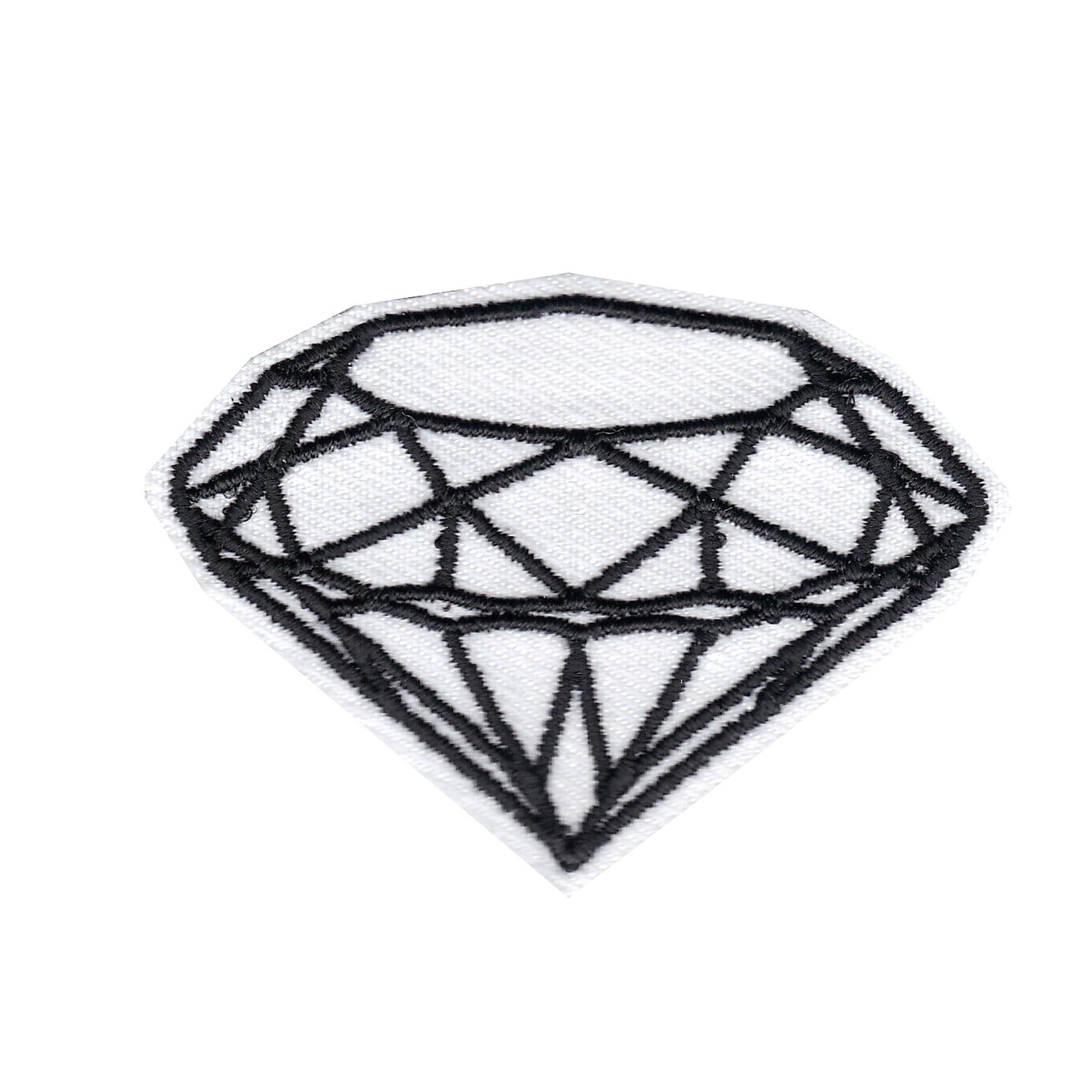 White Diamond Iron On Applique Patch