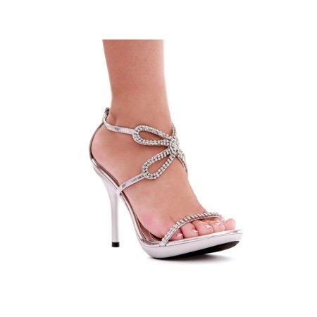 Ellie Shoes E 431 Monarch 4 Heel Rhinestone Sandal Silver 7