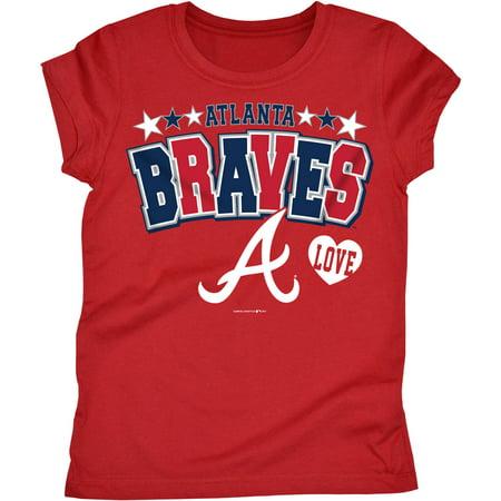MLB Atlanta Braves Girls Short Sleeve Team Color Graphic (Atlanta Braves Mlb Tumbler)