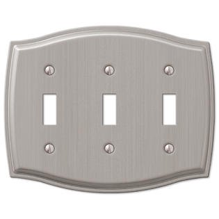 Triple 3 Toggle Switch Wall Plate Cover - Brushed (2 Triple Switchplate Cover)