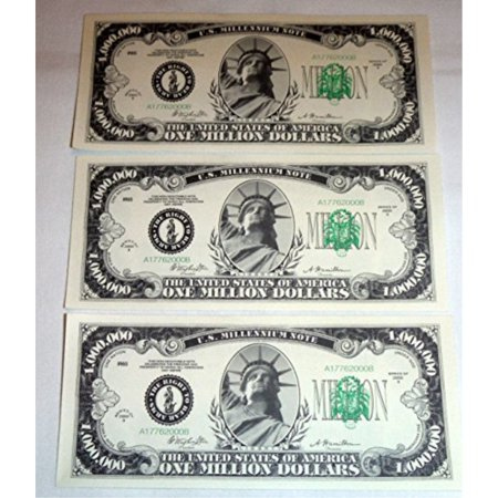 One Million Dollar Bills, Lot of 3 Bills, Look and Feel Real (1925) - Play Money 100 Dollar Bills
