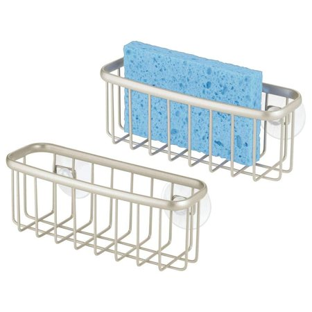 mDesign Kitchen Sink Suction Caddy Holder Organizer for Sponges, Scrubby, Scrub Brushes, Soap Utensil Organization - Pack of 2, Satin (Scrub Brush Sink Holder)