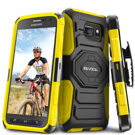 Evocel  Samsung Galaxy S7 Active  New Generation  Rugged Holster Dual Layer Case  Kickstand  Belt Swivel Clip  For Samsung Galaxy S7 Active  Yellow