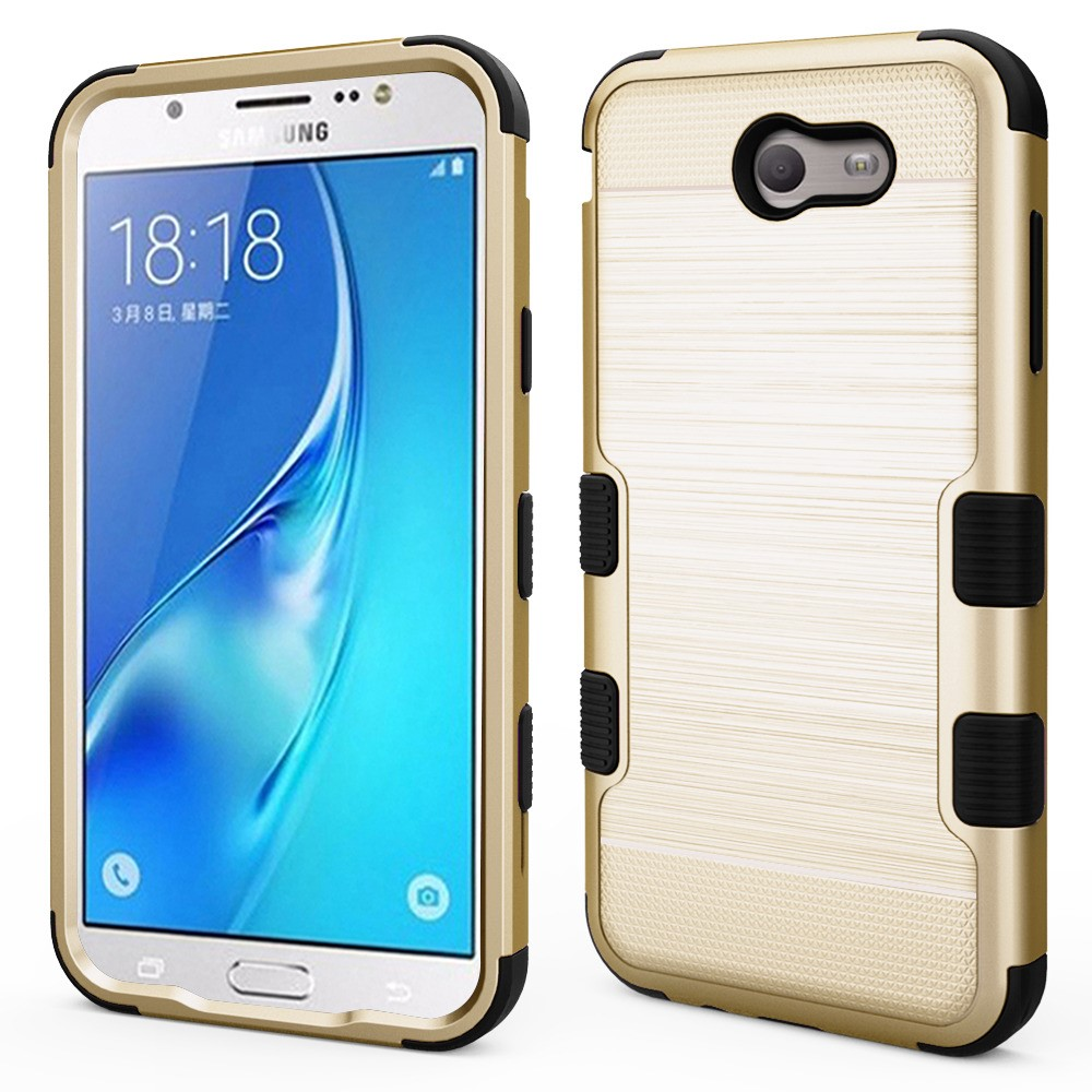 TUFF Military Grade [MIL-STD 810G-516.6] Metallic Brushed Finish Shockproof Hybrid Protective Case Cover - (Gold) and Atom Cloth for Samsung Galaxy J7 (Sky Pro 4G LTE, J7 V, Perx, J7 Prime, Halo)