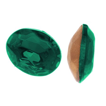 Czech Glass Table Cut - Oval Chatons Pointed Foiled Back Emerald 10x8mm