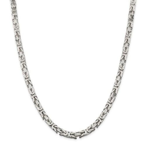 Sterling Silver 8in 6mm Square Byzantine Men's Chain Bracelet
