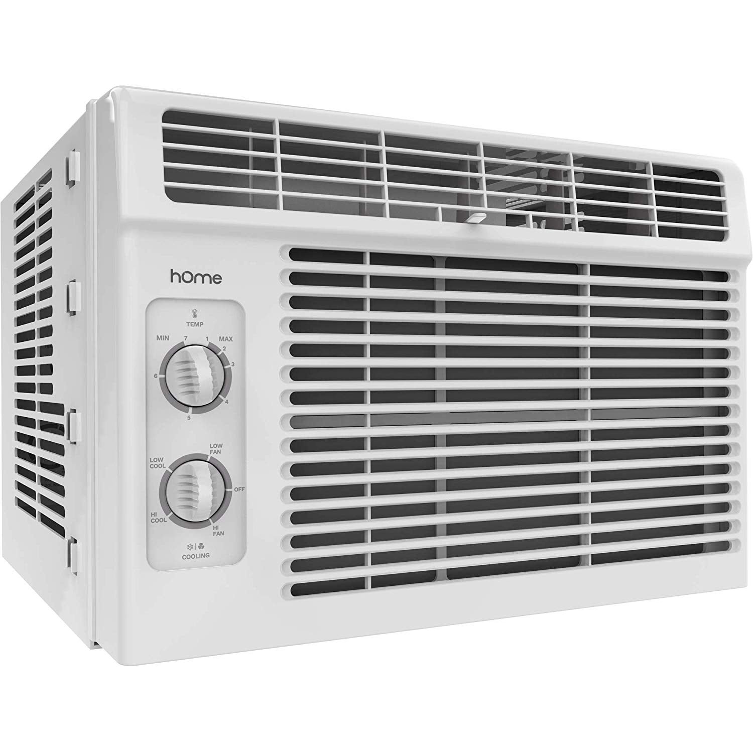 Homelabs 5000 Btu Window Mounted Air Conditioner 7 Speed Window Ac Unit Small Quiet Mechanical Controls 2 Cool And Fan Settings With Installation Kit Leaf Guards Washable Filter Indoor Room Ac