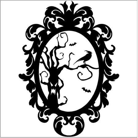 Halloween Frame #8 Scary Tree with Crow portrait vinyl lettering decal home decor wall art sticker (Small 12.5x16) - Scary Halloween Tombstones Sayings
