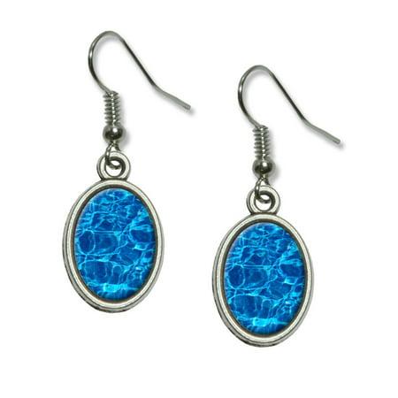Swimming Pool Blue Water Dangling Drop Oval Earrings