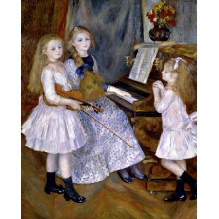 Portrait of the Daughters of Catulle Mendes  (Portrait des Filles de Catulle Mendes)  Pierre-Auguste Renoir (1841-1919French)  Annenberg Collection Palm Springs California Stretched Canvas - Pierre-A