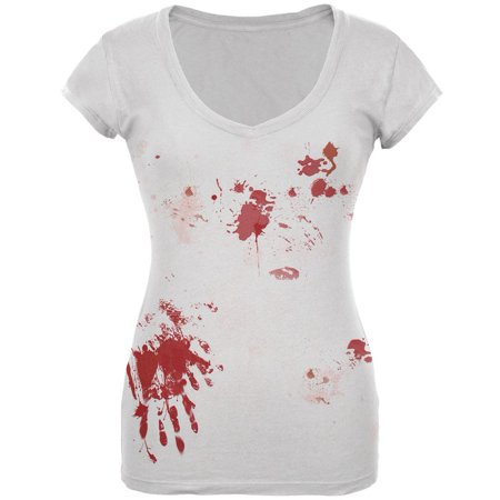 Halloween Blood Splatter Costume Juniors V-Neck T - Halloween Face Paint Ideas White Witch